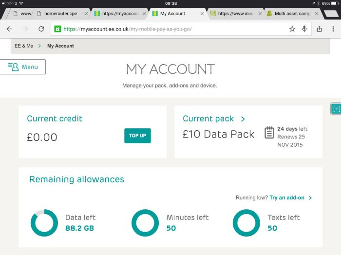 EE My Account page