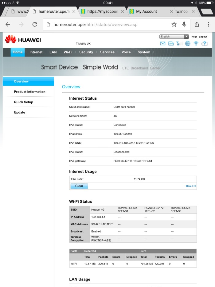 Huawei Router Configuration Overview Page