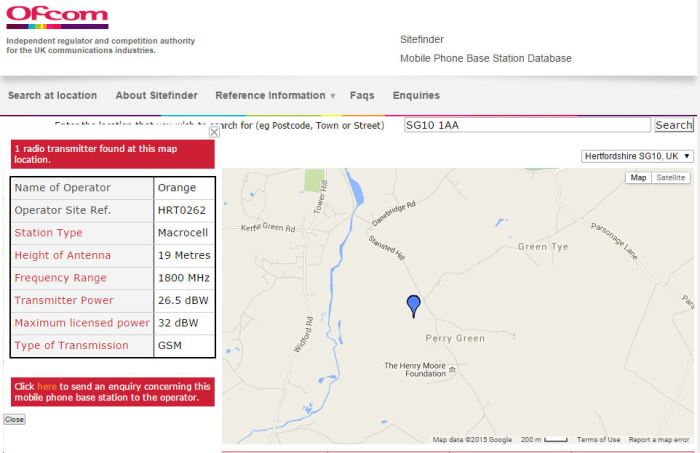 Sample result from Ofcom's SiteFinder website