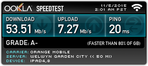 Ookla Speedtest sample from author's home